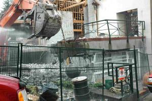 Demolition ball at 1401 Comox, 24-May-2011