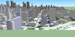 Bottom of Davie Street in FUTURE with zoning changes approved 23-Jan-2014, aerial view