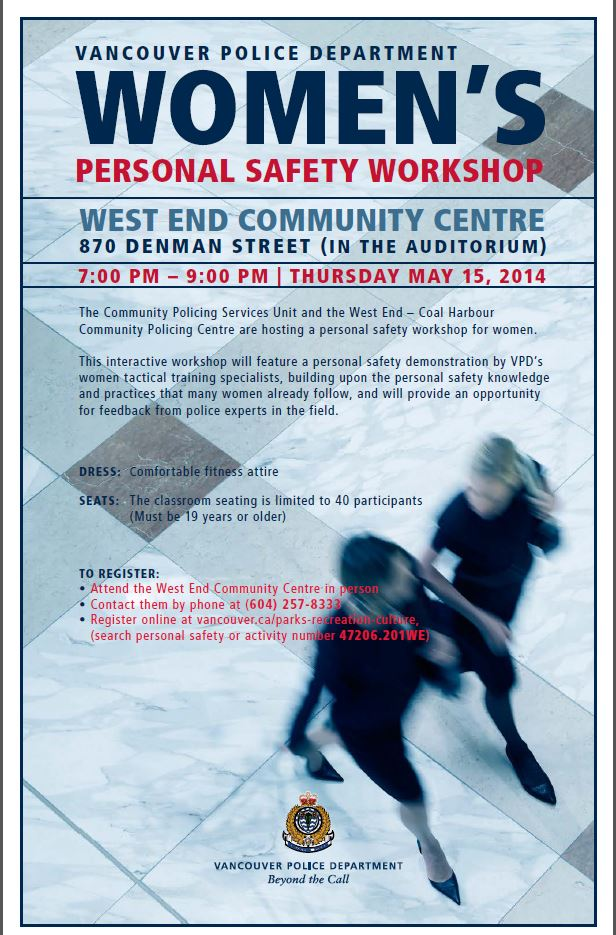 VPD Womens Personal Safety Workshop 15-May-2014