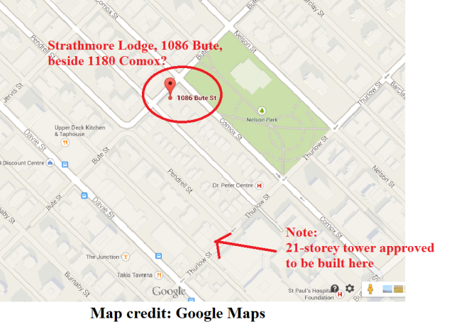 1180 Comox Street location, Google Maps, 17-Sep-2014