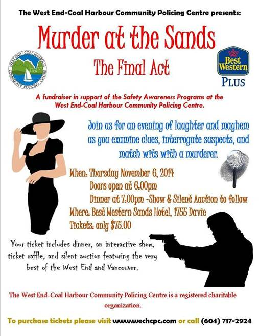 WECHCPC, Murder at the Sands poster, 6-Nov-2014