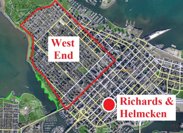 Who knew? Richards & Helmcken is clearly NOT in the West End. But subtle text in zoning bylaw changes for the West End Community Plan had huge implications, for the New Yaletown neighbourhood. Map courtesy of VANMAP