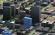 Blue building at centre  is in 3-D image in West End Plan