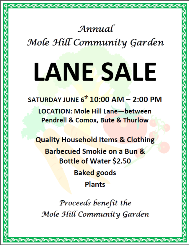 2015 Mole Hill Lane Sale poster
