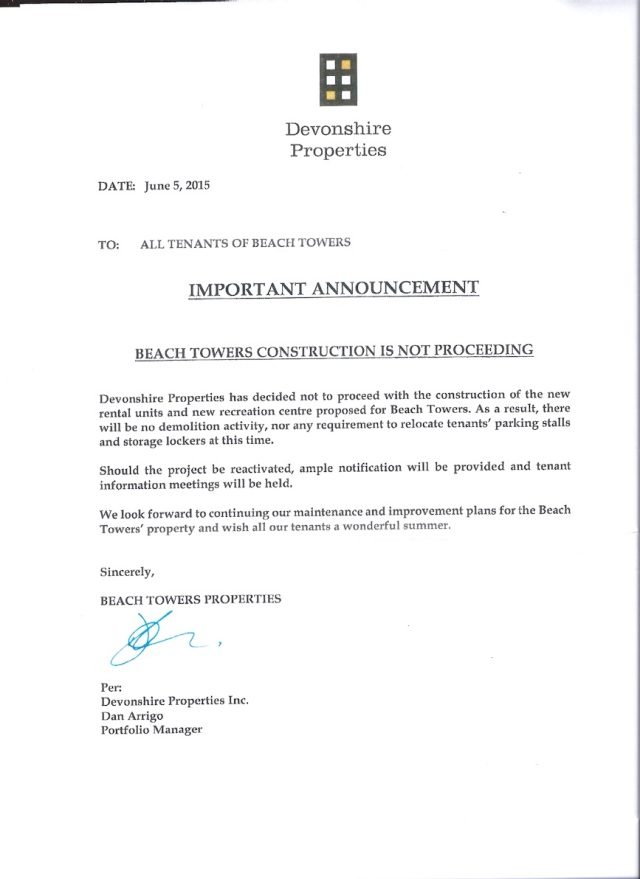 Beach Towers, Devonshire Properties letter to tenants 5-June-2015