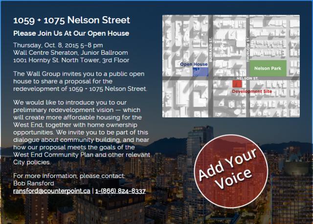 1059+1075 Nelson Street tower open house invite 8-Oct-2015