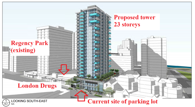 Location of existing buildings, parking lot, and Larco's proposed 23-storey tower