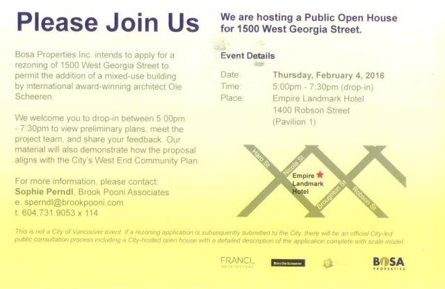 Bosa 1500 West Georgia image proposed, open house invite card, 4-Feb-2016