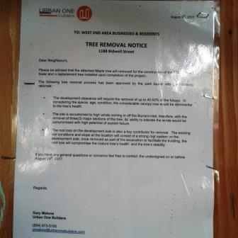 1188 Bidwell tree removal notice Aug 2017