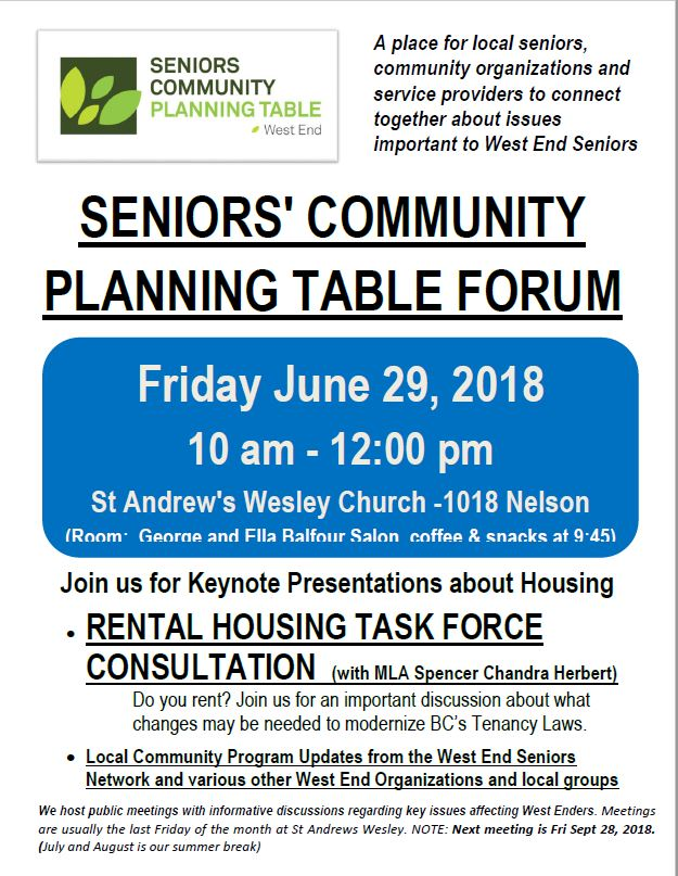 West End Seniors Community Planning Table, 29-June-2018