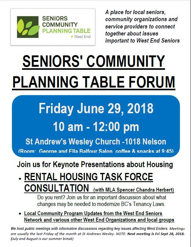 West End Seniors Community Planning Table, 29-June-2018