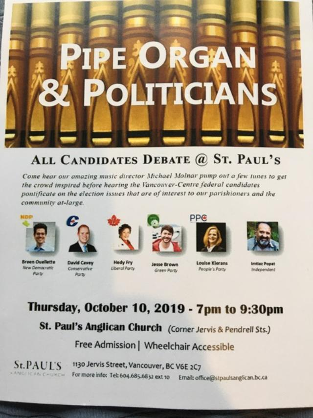 All candidates debate St Pauls 10-Oct-2019