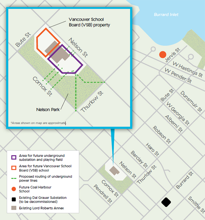 BC Hydro west end substation map Nelson Park Oct 2019